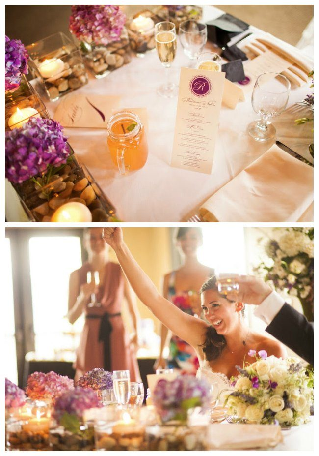 Purple and Orange Wedding Details