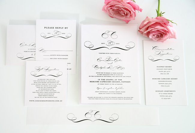 Classic Vintage Wedding Invitations in Black and White ...