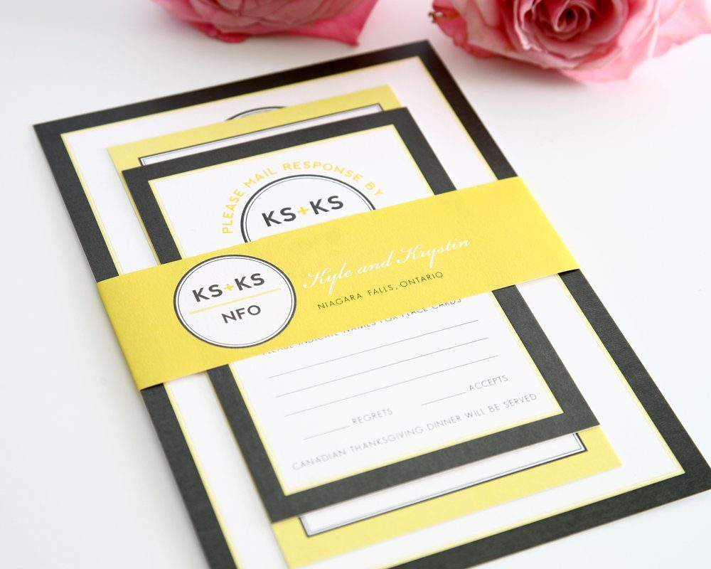 Gray and Yellow Wedding Invitations Modern