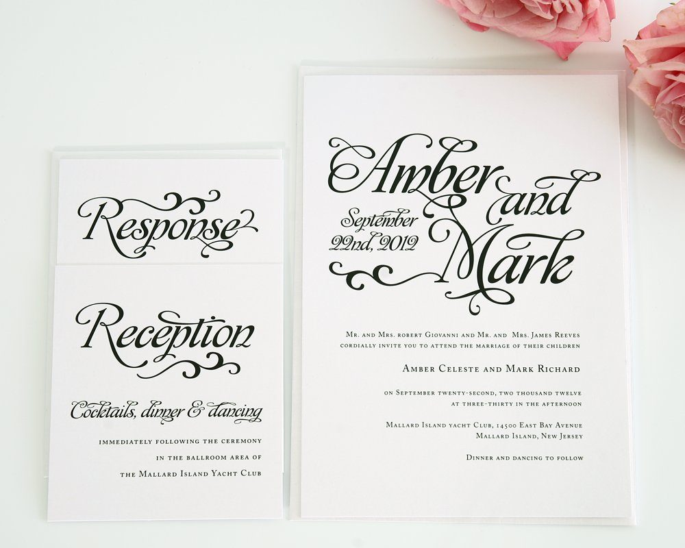 Wedding Gift Check Both Names : Whimsical Script Wedding Invitations Wedding Invitations