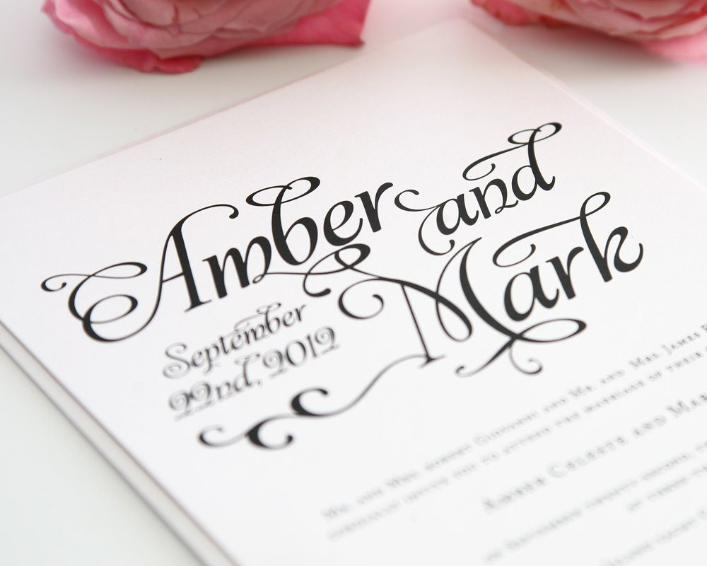 Whimsical Script Wedding Invitations