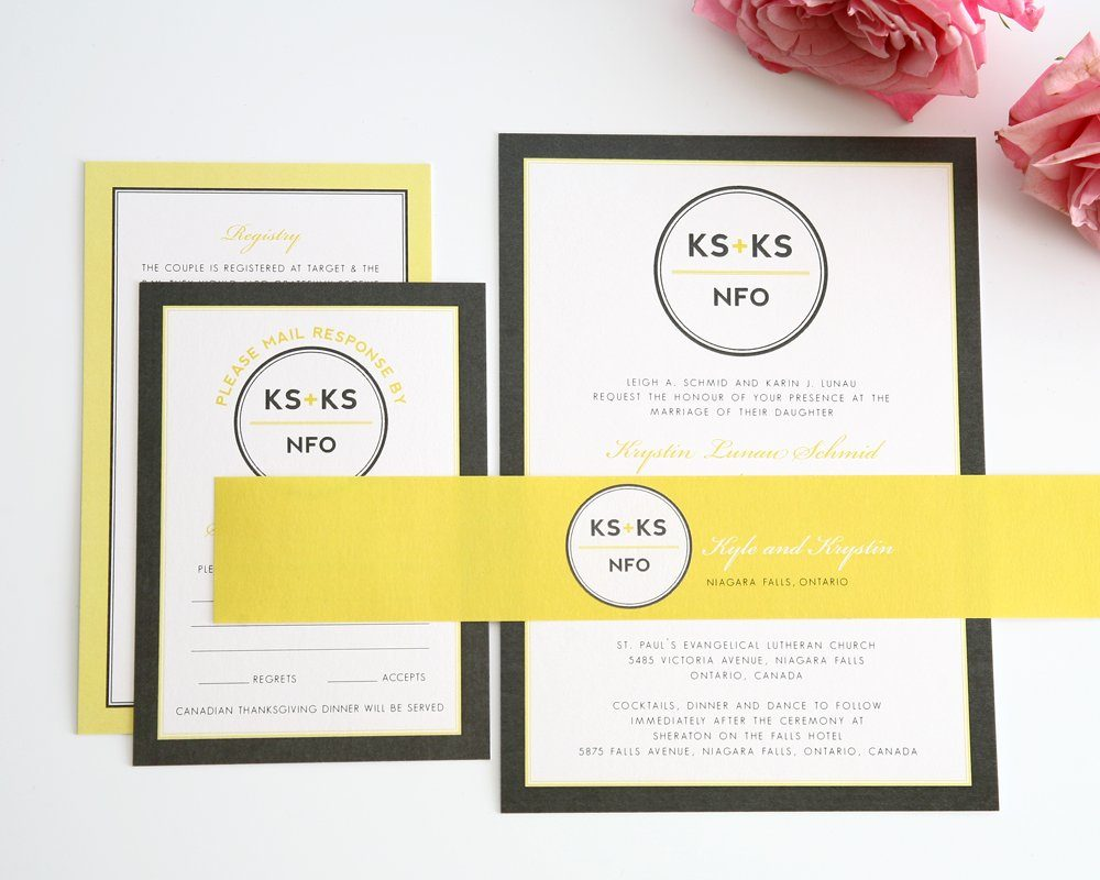 Modern Wedding Invitations in Yellow and Gray