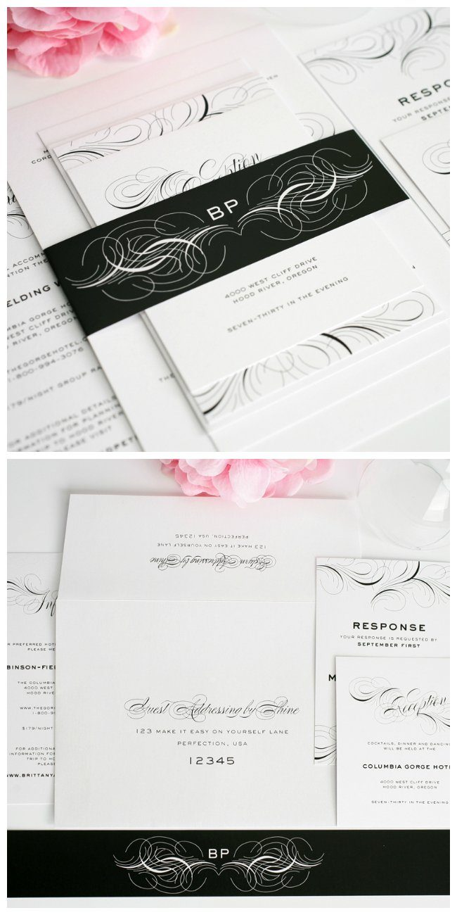 Black and White Flourish Wedding Invitations