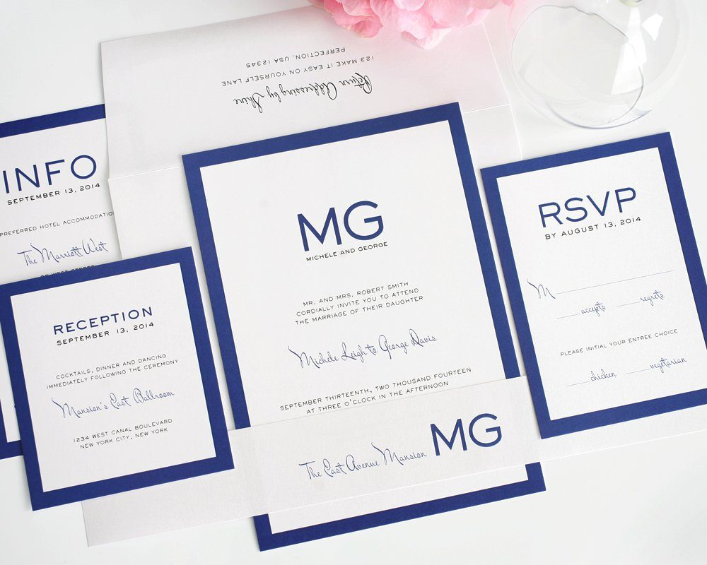 Modern Wedding Invitations in Blue with Monogram – Wedding Invitations