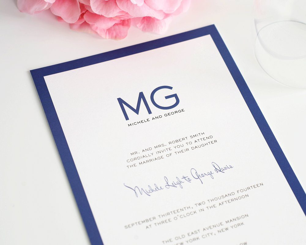 Dark Blue Wedding Invitations: Modern Wedding Invitations In Blue With Monogram