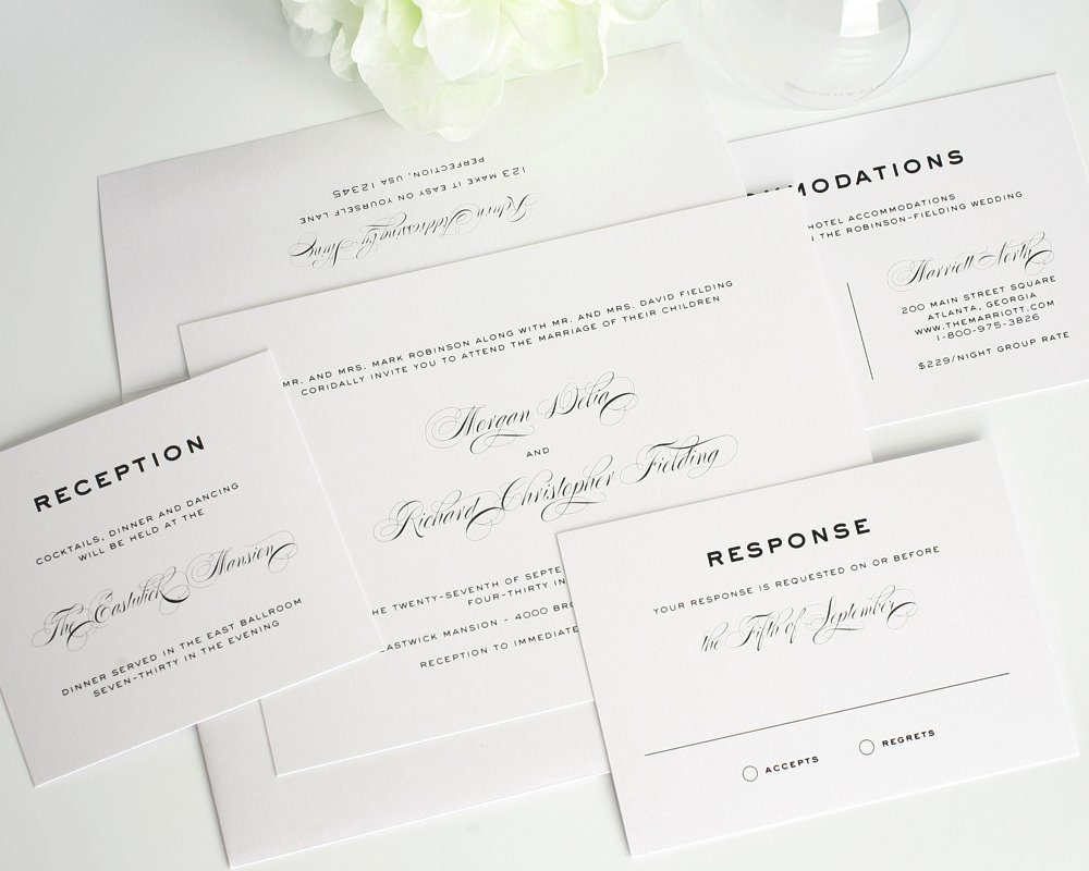 Simple, Traditional, Classic Wedding Invitations in Gray – Wedding ...