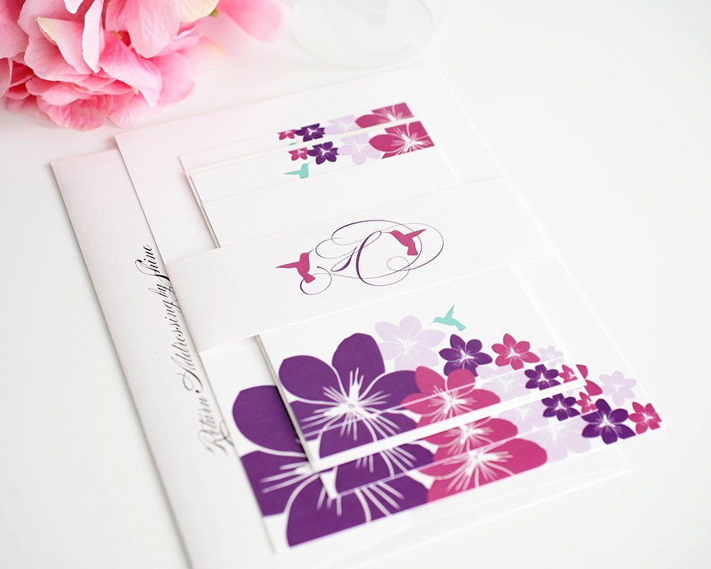 Destination Wedding Invitations with Hummingbirds and Flowers
