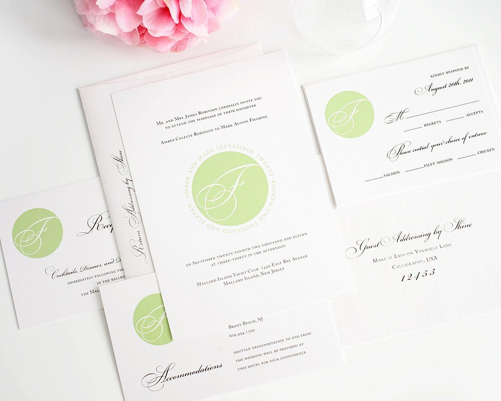 Elegant Monogram Wedding Invitations: Elegant Green Wedding Invitations