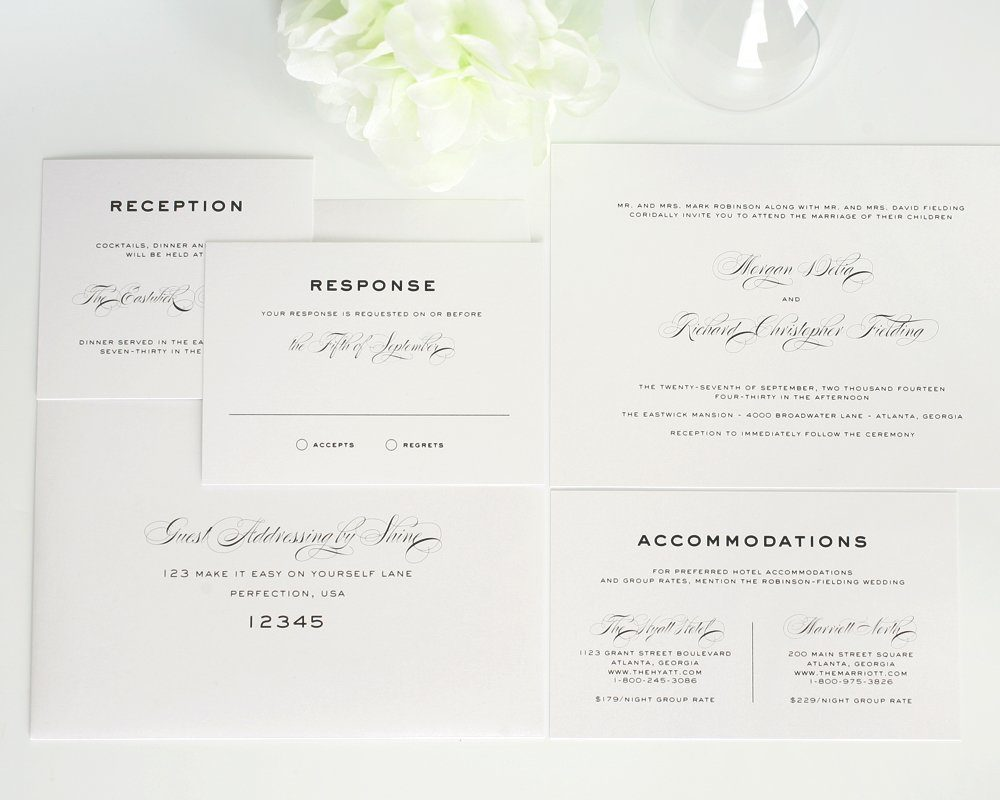Elegant White Wedding Invitations