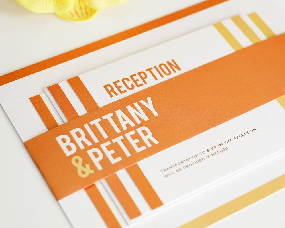 Orange Modern Wedding Invitations with Stripes – Wedding Invitations