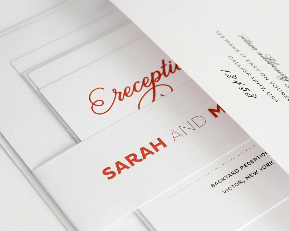 Modern Wedding Invitation Red