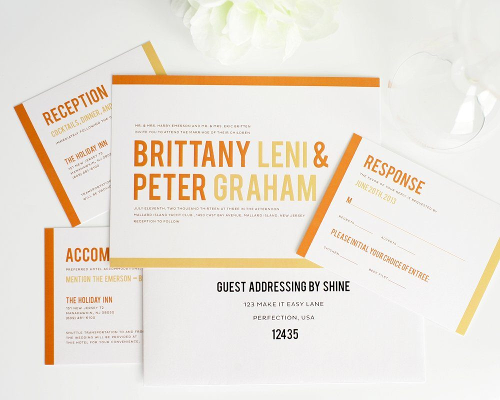 Modern Wedding Invitations with Orange Stripes