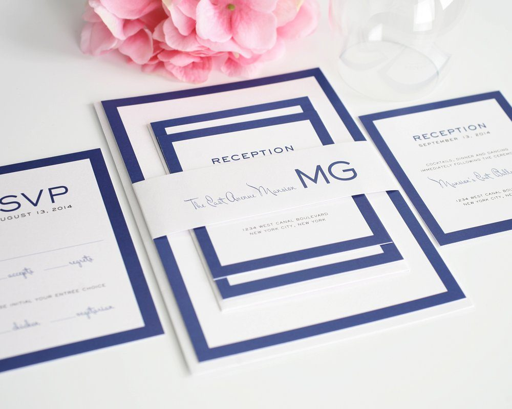 modern wedding invitations in blue with monogram – wedding invitations, Wedding invitations