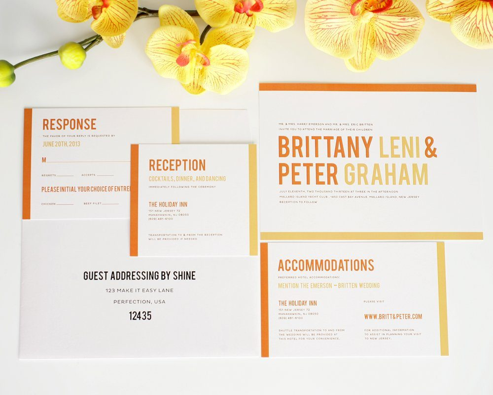 Orange Wedding Invitations - Modern