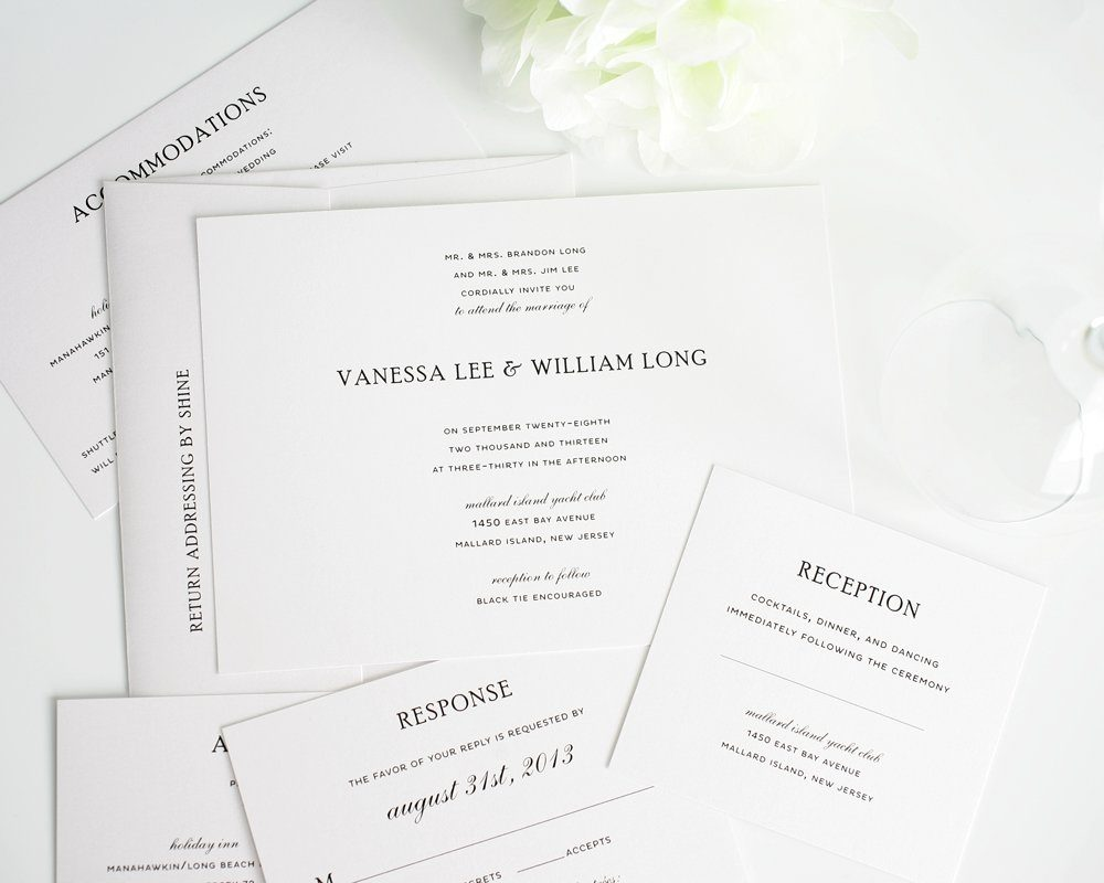 Simple elegance wedding invitations for Simple wedding invitations with pictures