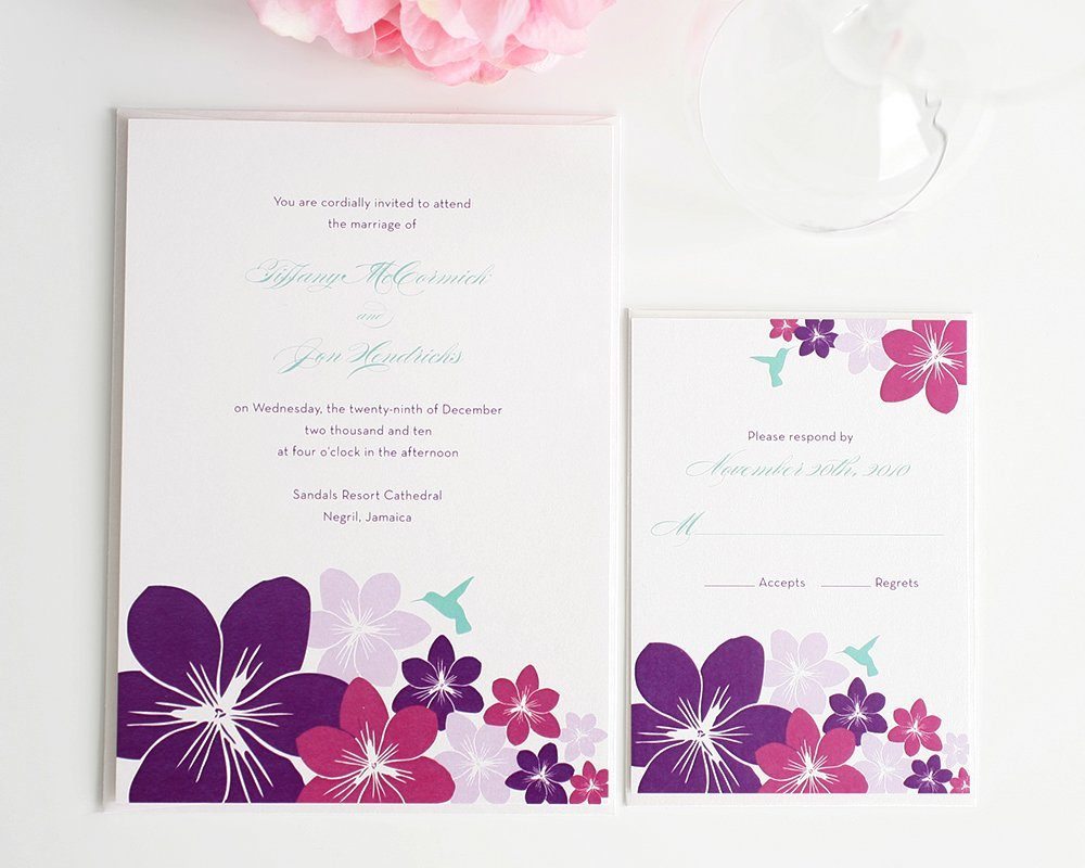 Wedding Invitations With Hummingbirds And Flowers Wedding