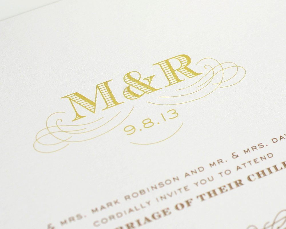 Elegant Monogram Wedding Invitations: Antique Monogram Wedding Invitations In Gold And Brown