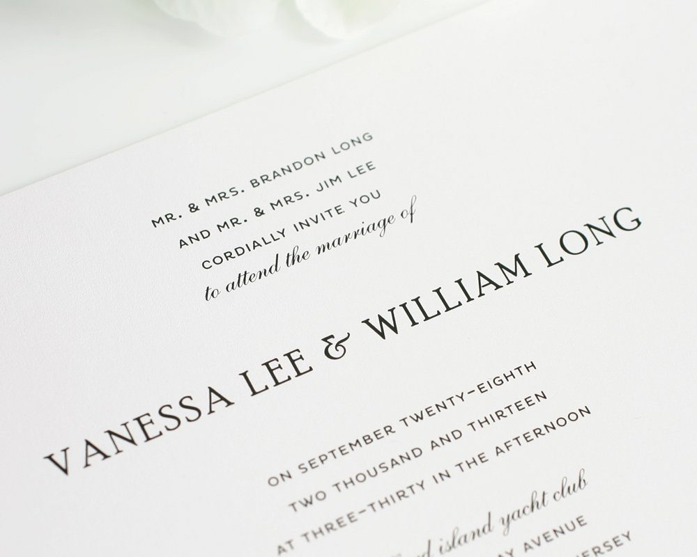 Traditional Wedding Invitations in Black and White Wedding – Traditional Wedding Invite