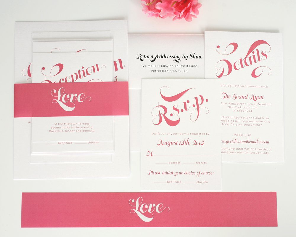 Wedding Invite Enclosures: Pink Wedding Invitations With Large Names