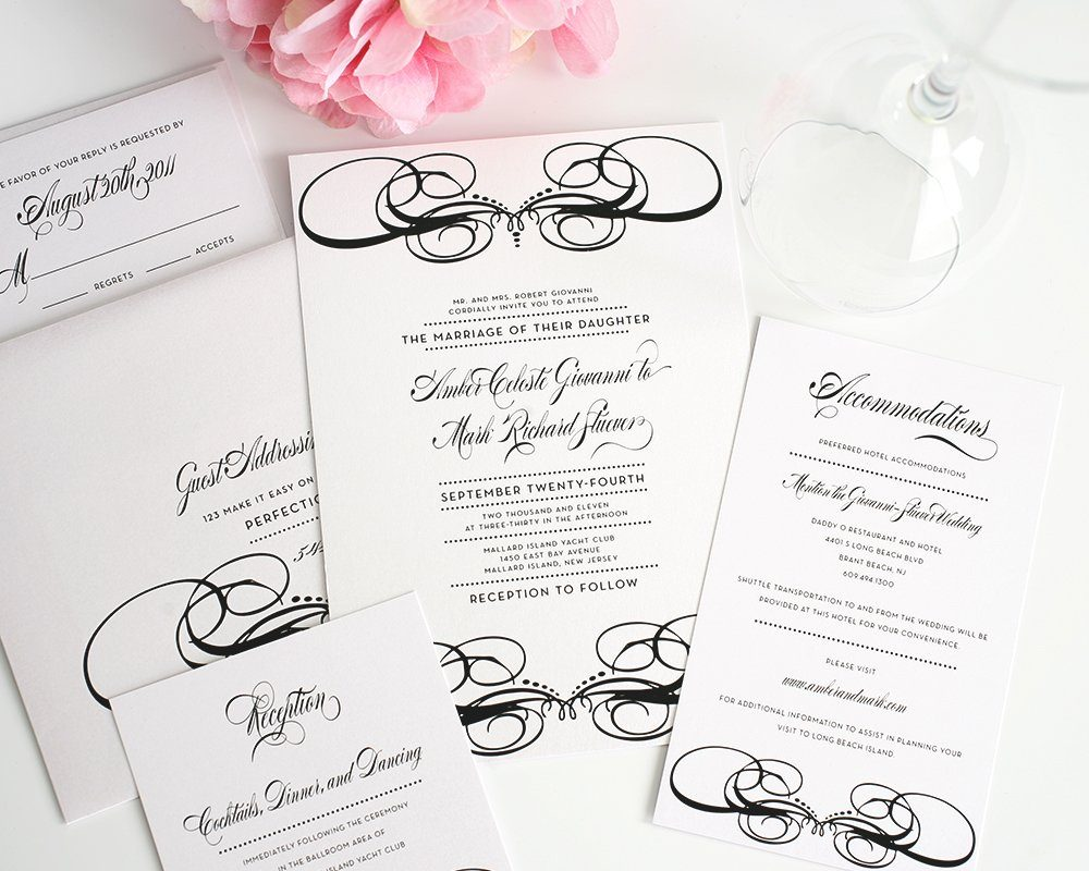 Unique Wedding Invitations in Black and White Wedding Invitations