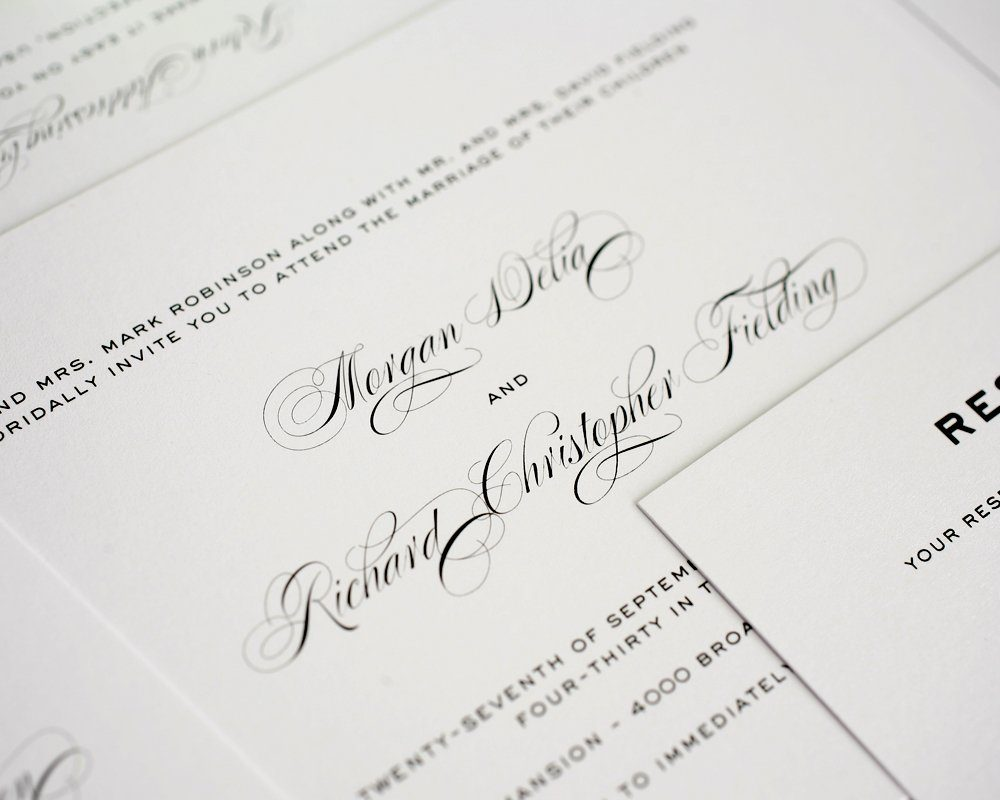 simple traditional classic wedding invitations in gray On wedding invitation script