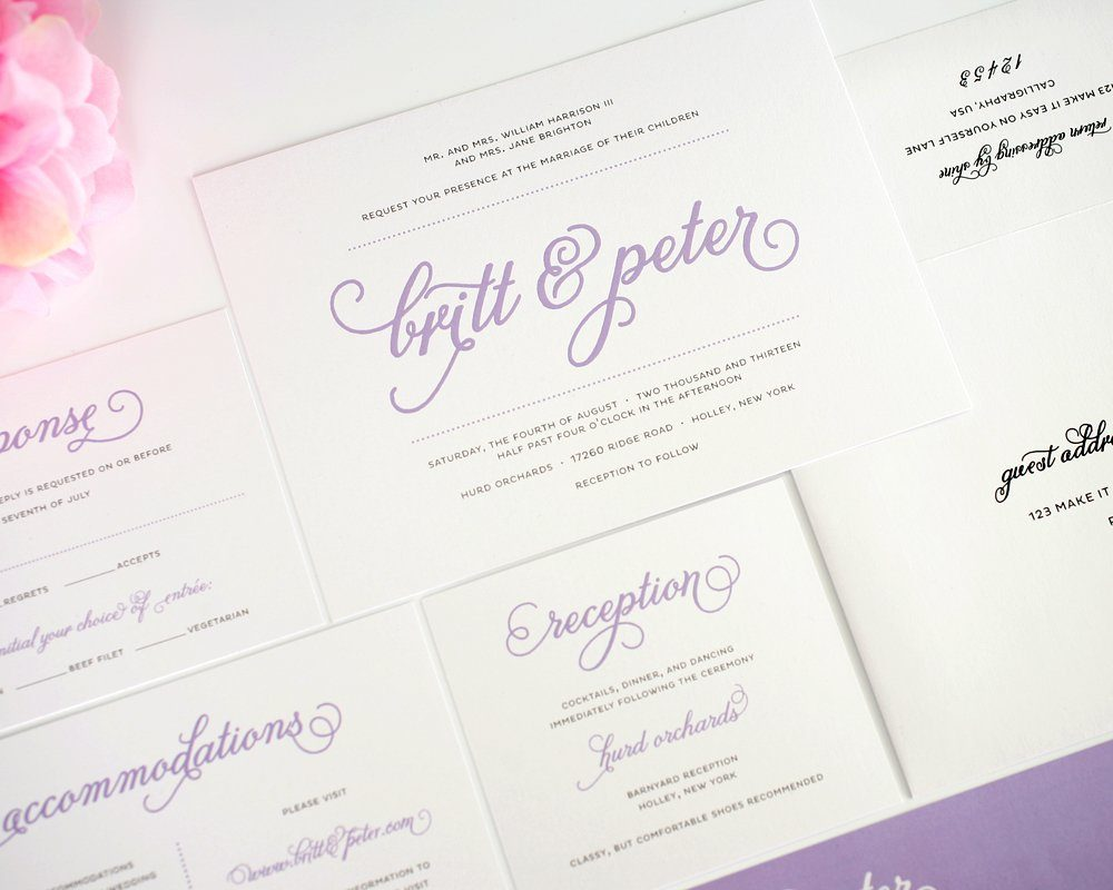 Purple wedding invitations with script names wedding for Wedding invitation suite what to include