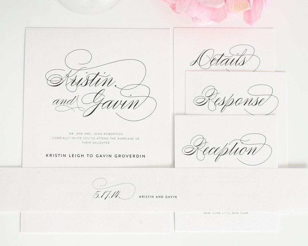 wedding invitations with large names in calligraphy handwritten wedding invitations Wedding Invitation Suite