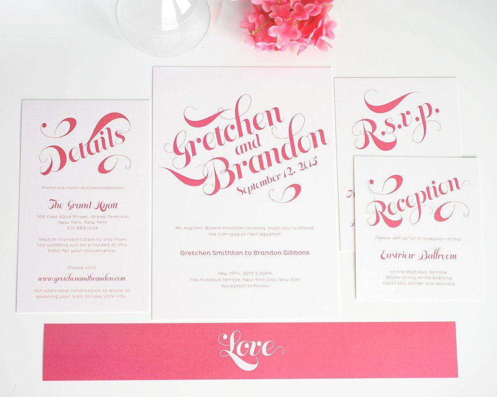 Pink wedding invitations with large names wedding invitations wedding invitations monicamarmolfo Image collections