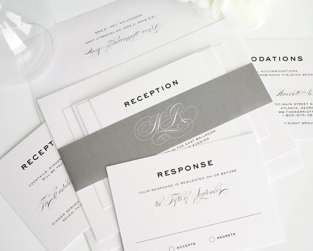 Traditional Elegant Wedding Invitations: Simple, Traditional, Classic Wedding Invitations In Gray