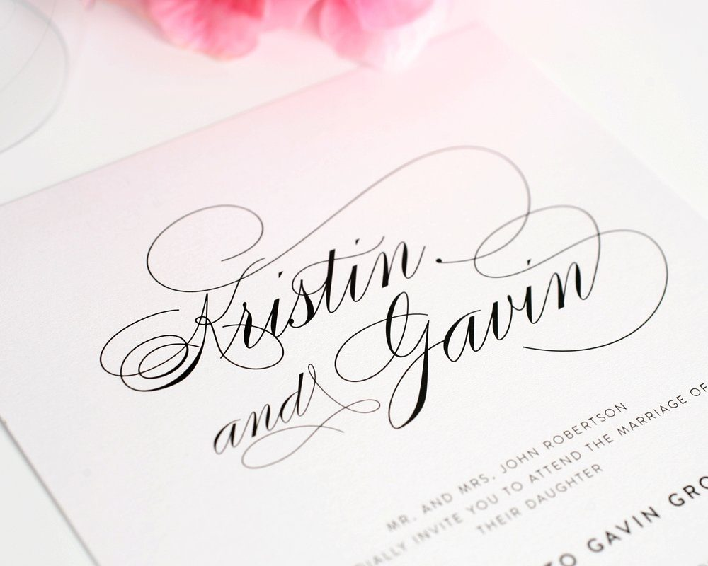 Wedding Invitations With Large Names In Calligraphy