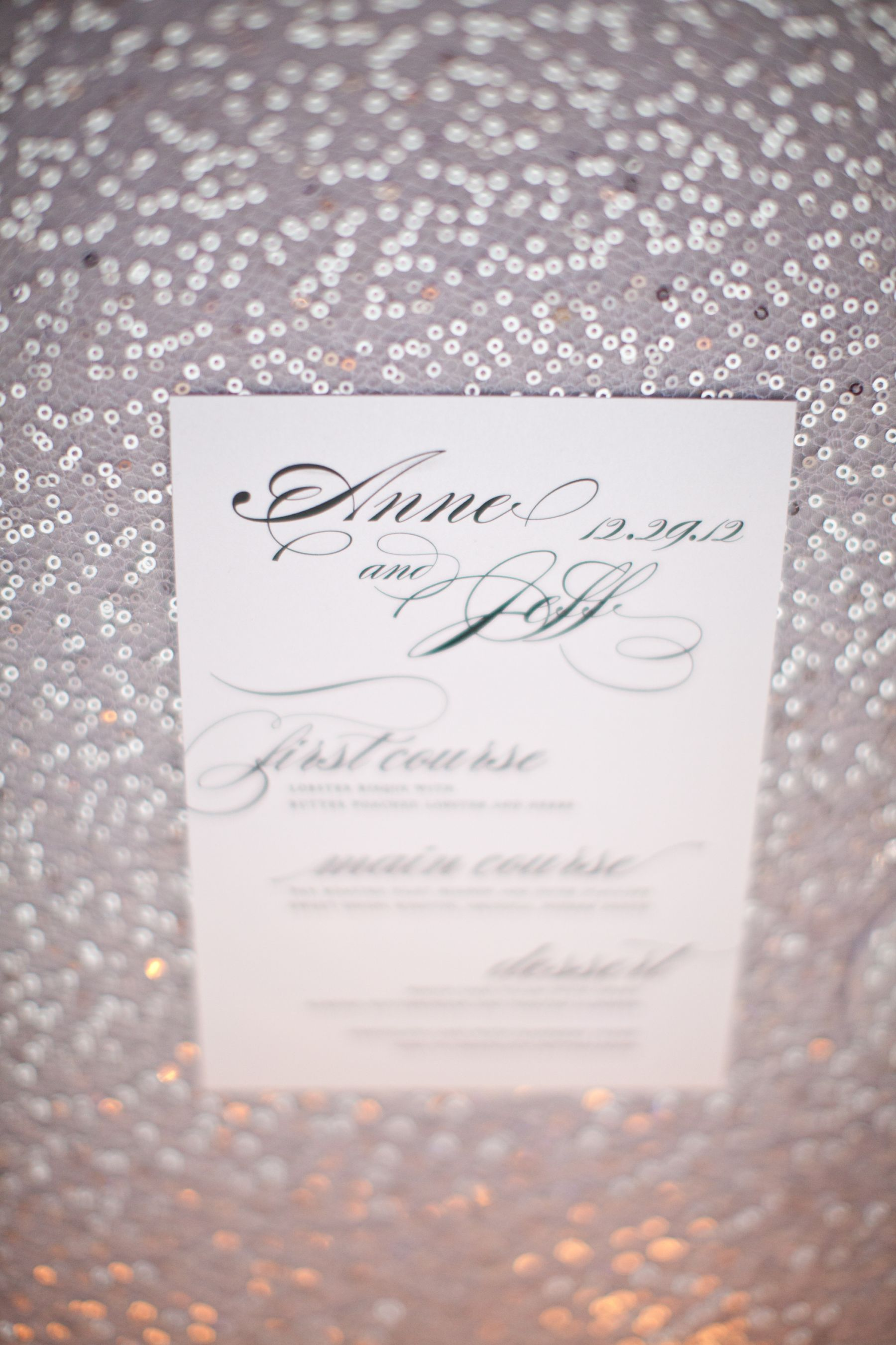 wedding menu by shine wedding invitations
