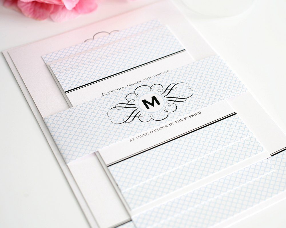 Vintage Wedding Invitations with Monogram and Blue ...
