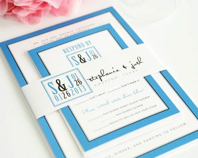 Dark Blue Wedding Invitations: Blue Modern Wedding Invitations With Unique Logo