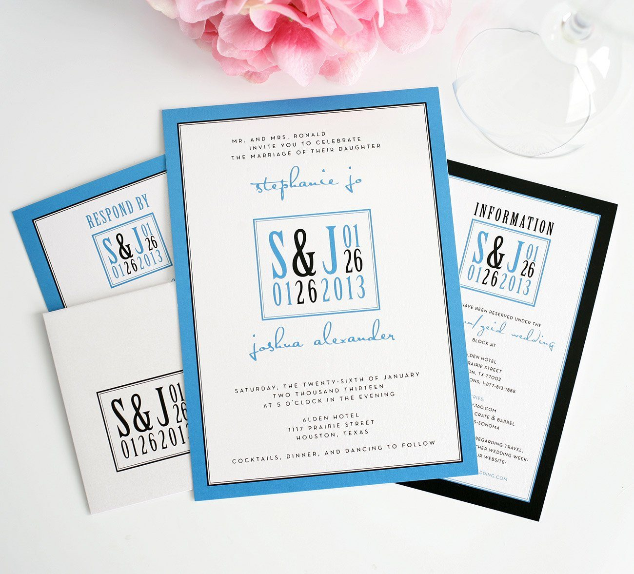Blue Modern Wedding Invitations With Unique Logo Wedding
