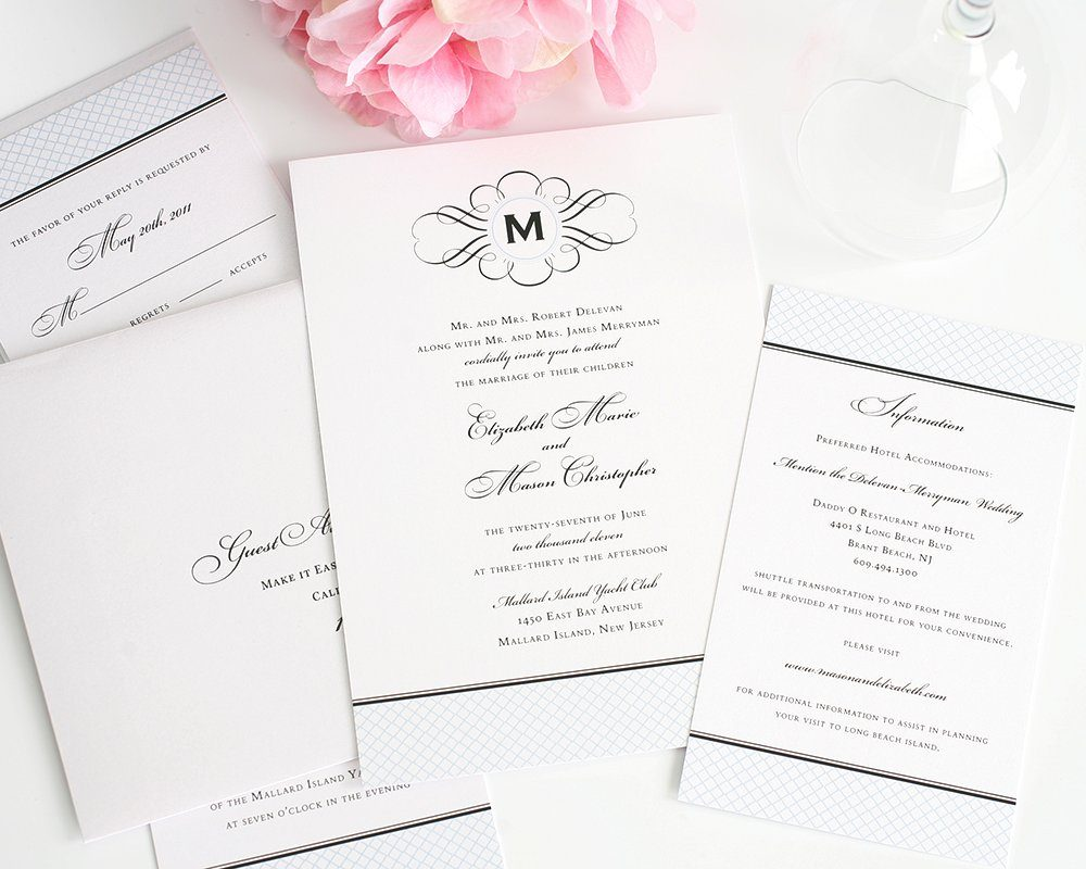Elegant Monogram Wedding Invitations: Vintage Wedding Invitations With Monogram And Blue
