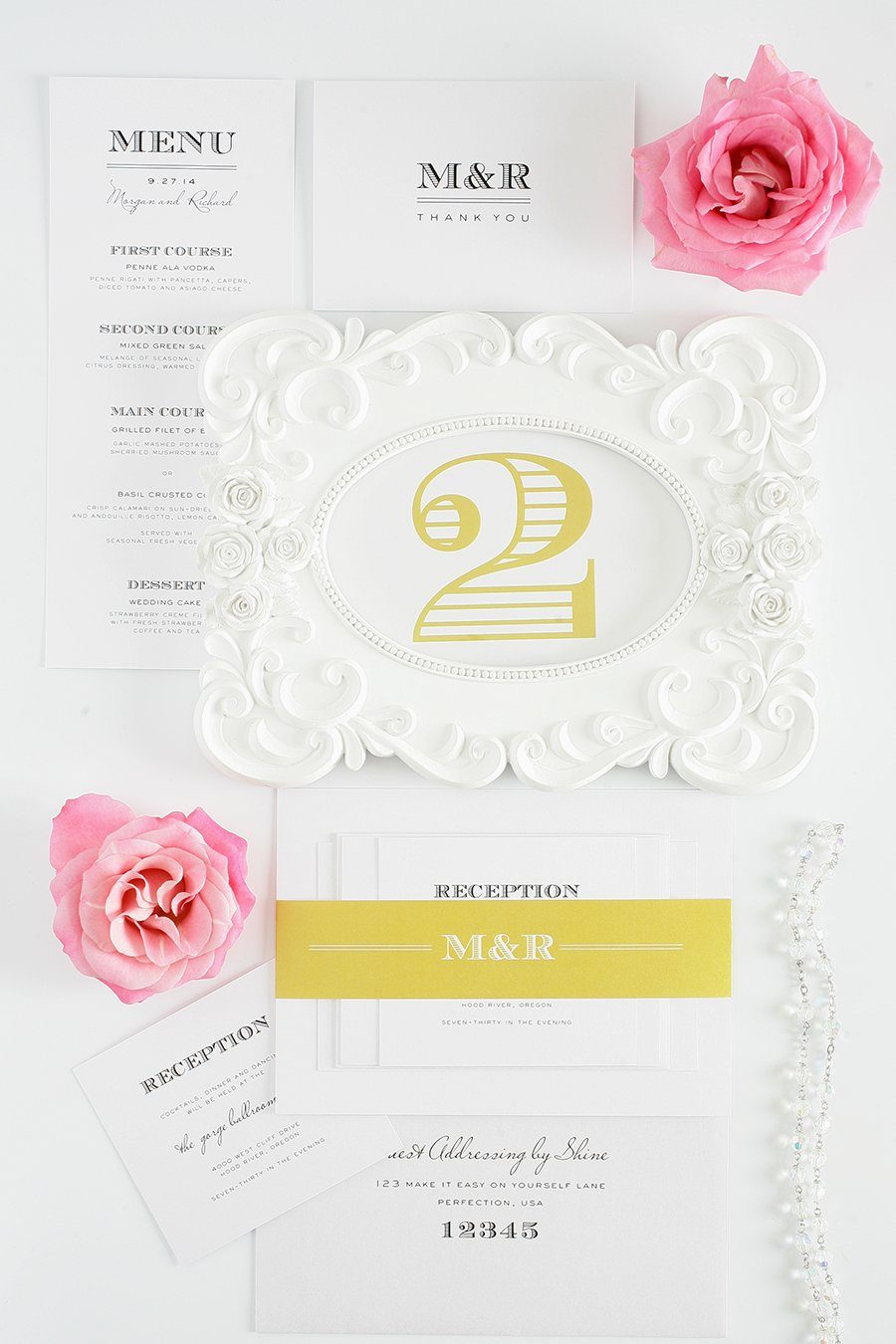 Vintage Wedding Invitations in Yellow and Gold