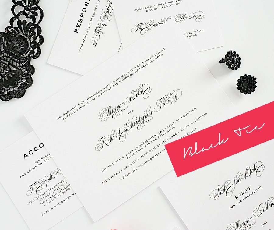 classic and modern black tie wedding invitations – wedding invitations, Wedding invitations
