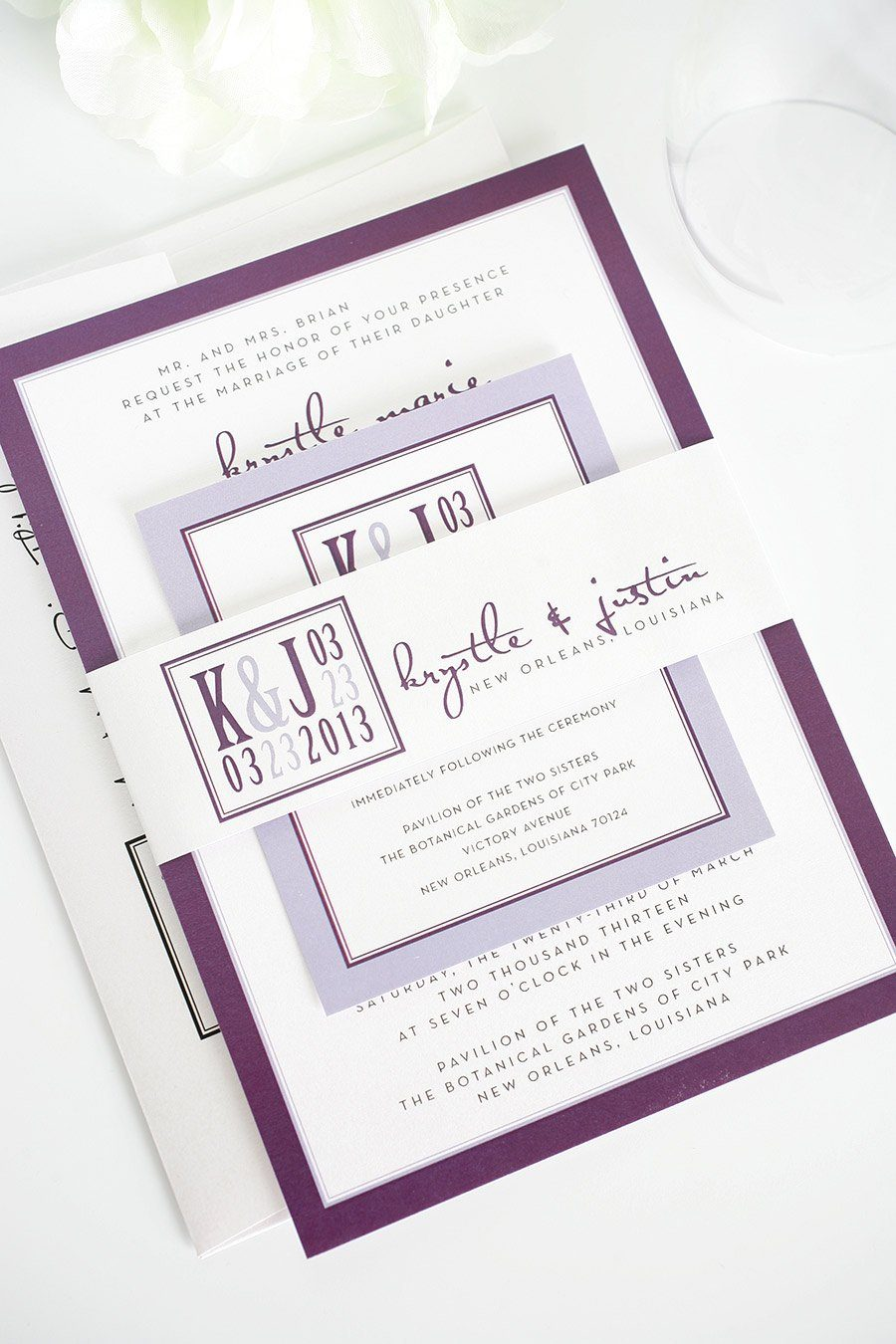 Modern Purple Wedding Invitations Wedding Invitations