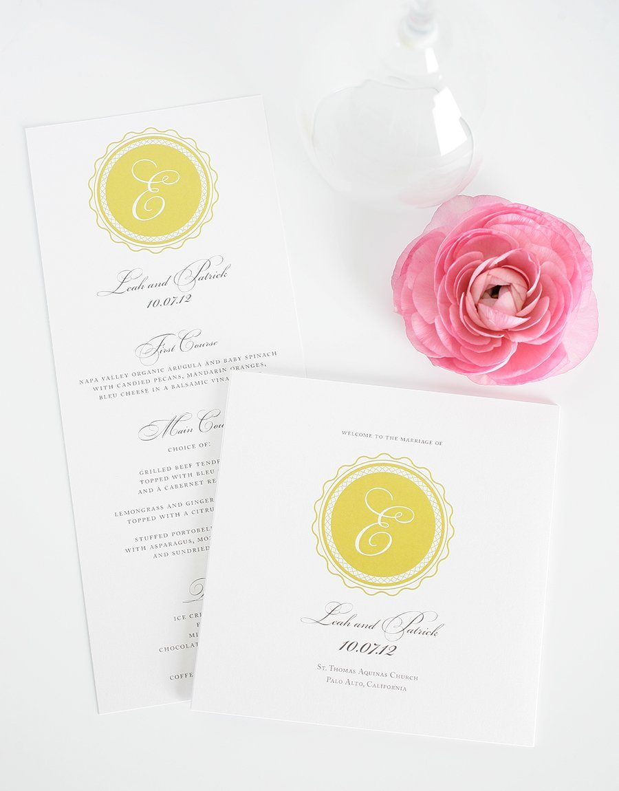 Gold Wedding Programs and Menus