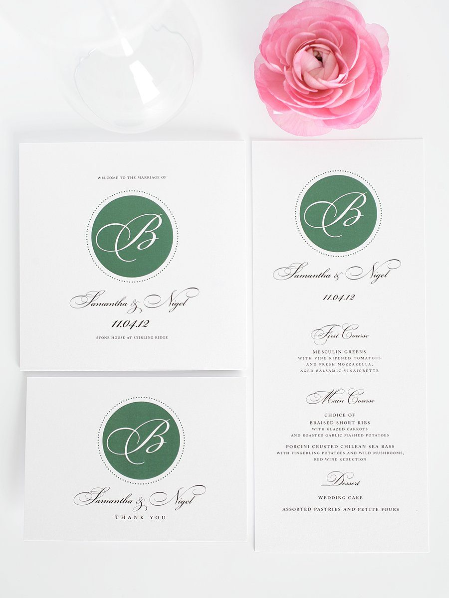 Elegant Green Wedding Programs and Menus