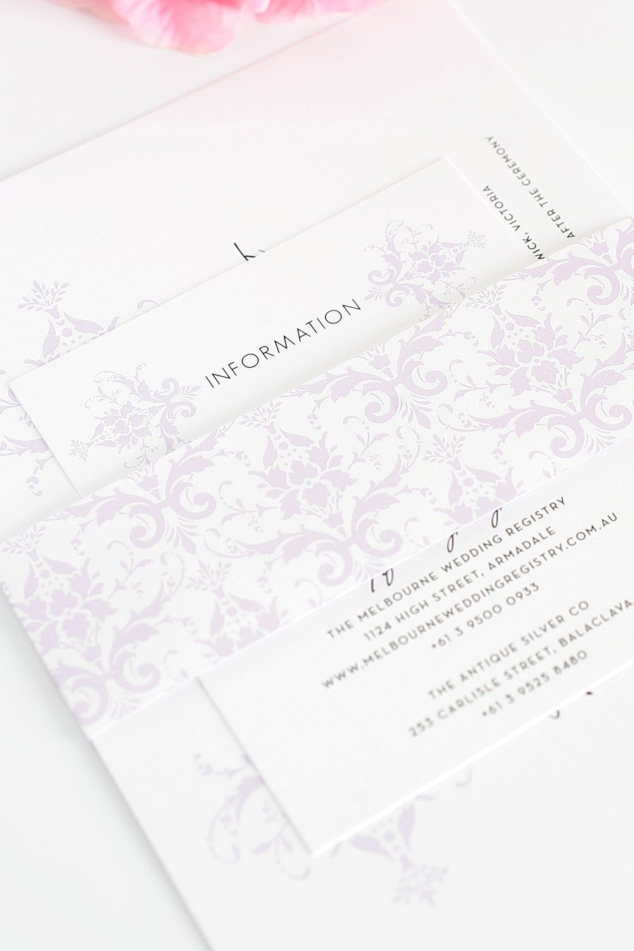 Light Purple Damask Wedding Invitations