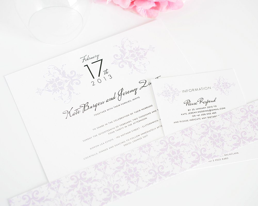 Light Purple Wedding Invitations with Damask
