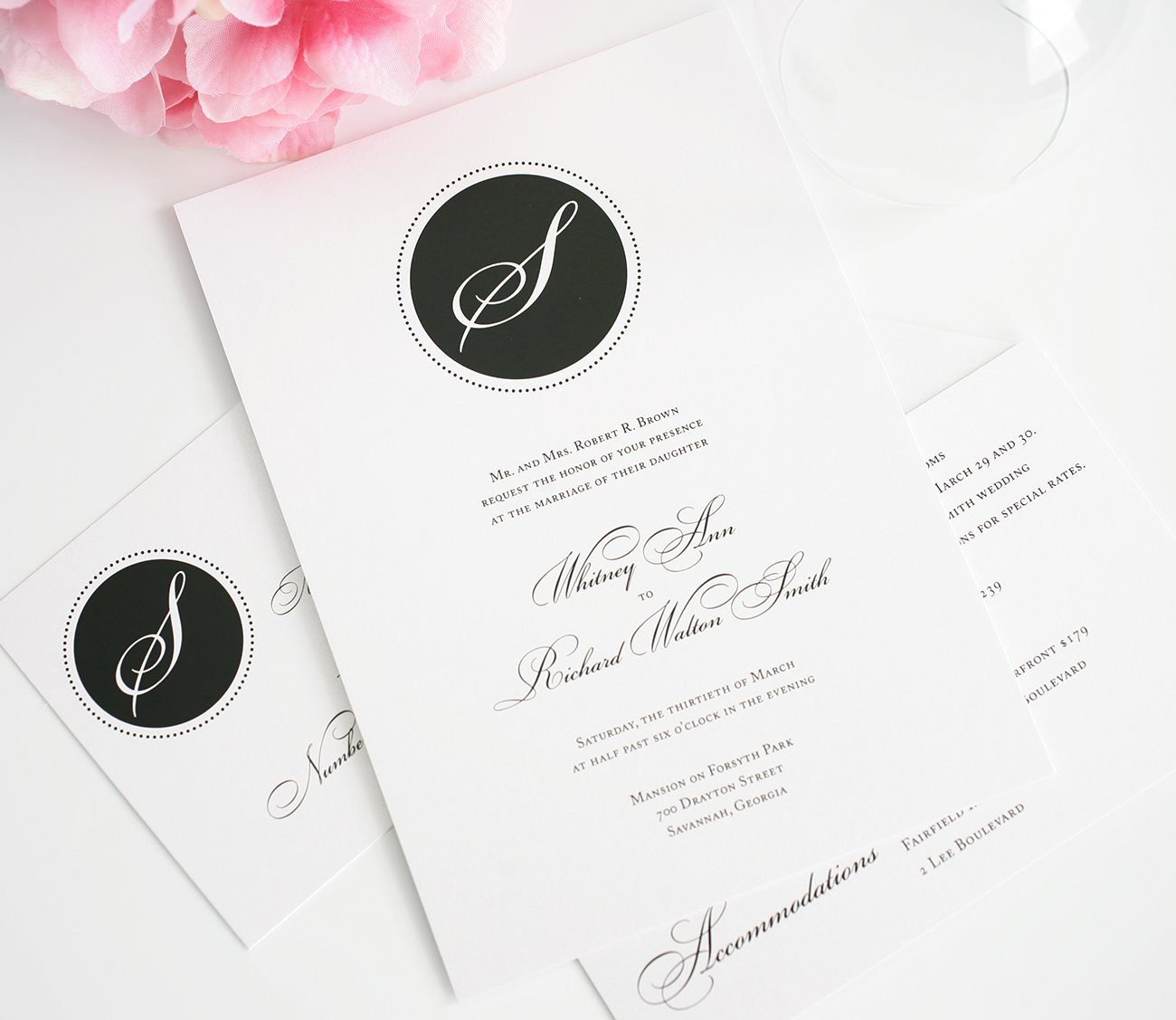 Wedding Invitations with Black Monogram