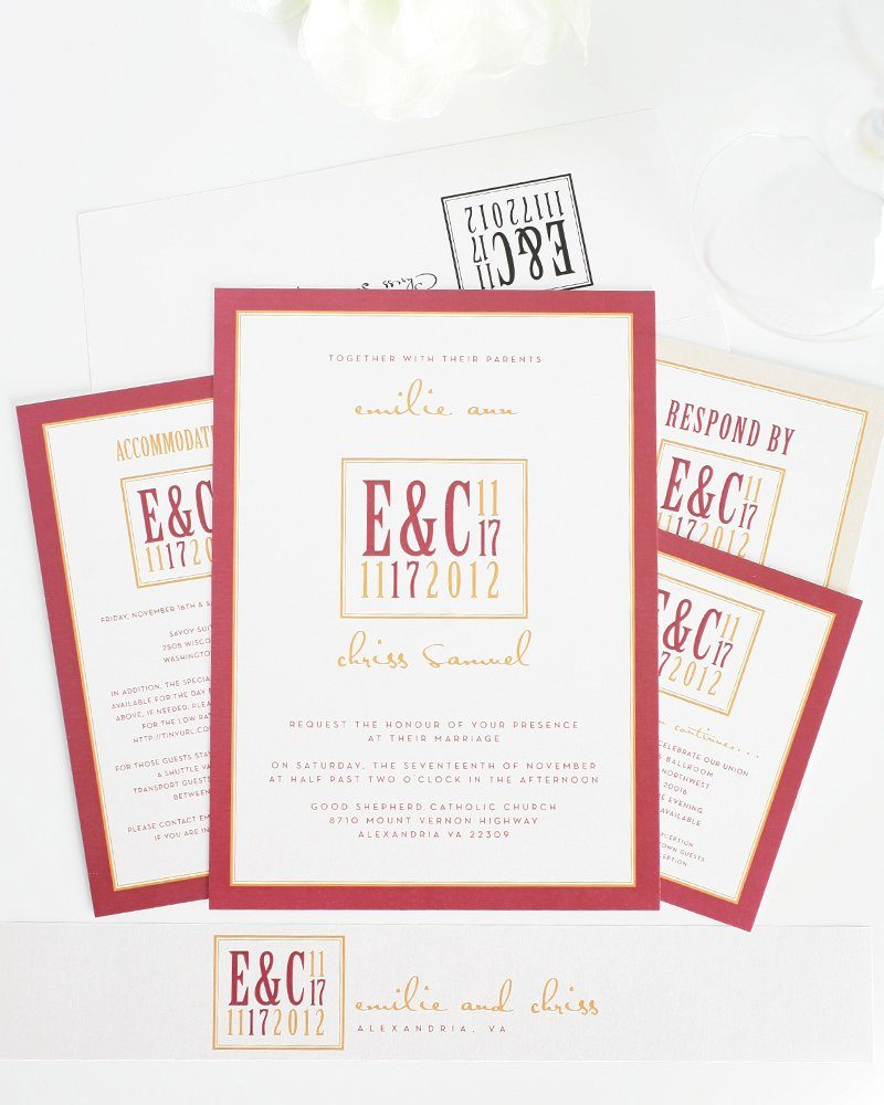 Fall Wedding Invitations In Red And Orange