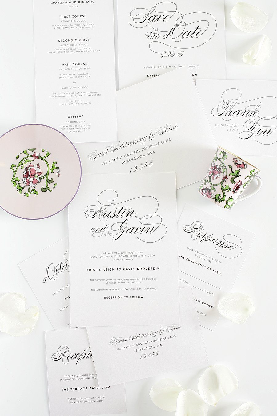 Vintage Script Wedding Invitations Complete Package Wedding