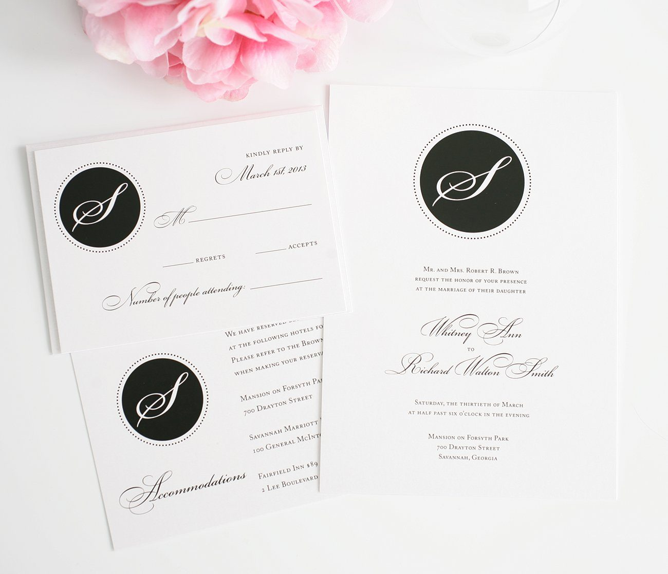 Wedding Invitations - Black Monogram