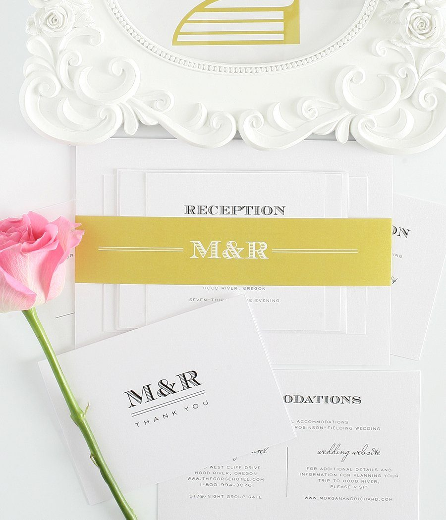 Complete Wedding Invitation Package in Antique Gold and Yellow