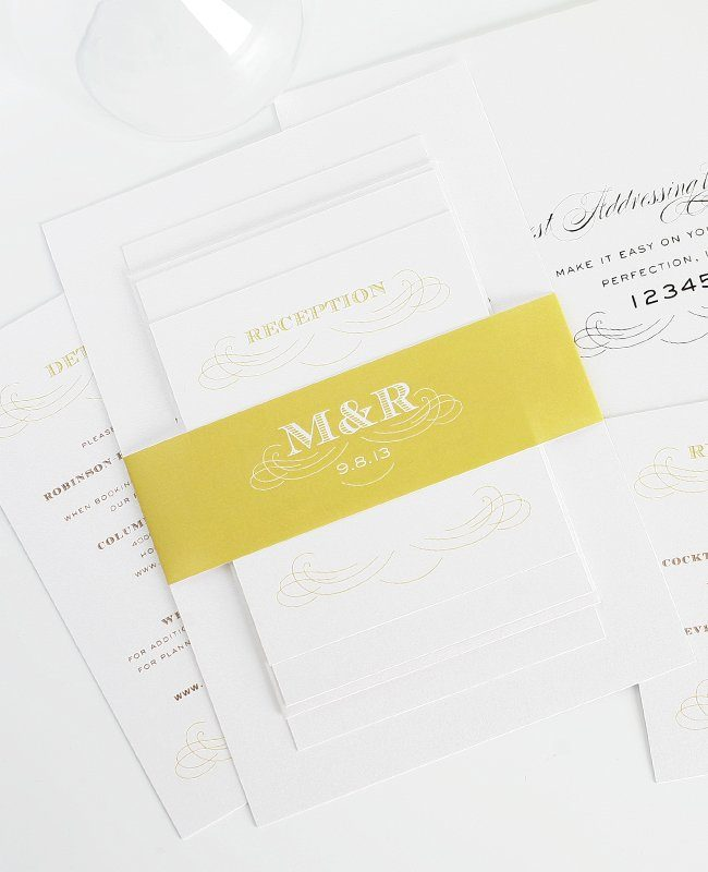 Vintage Wedding Invitations - Gold