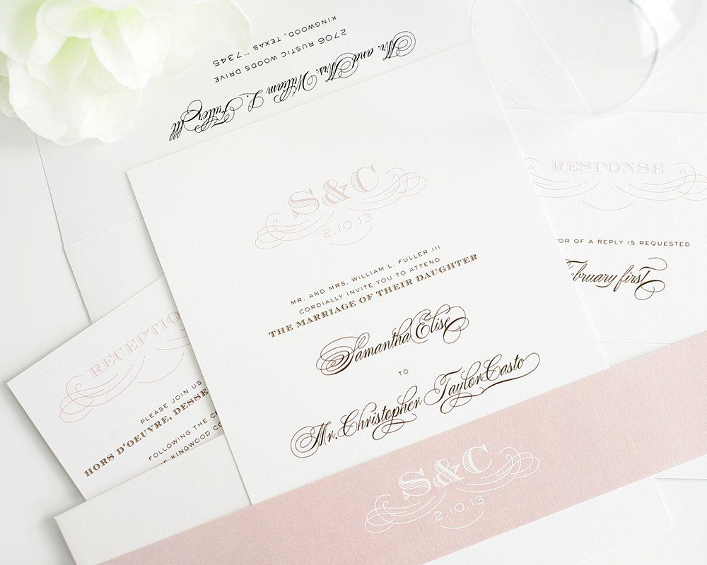 Vintage Wedding Invitations - Pink and Brown
