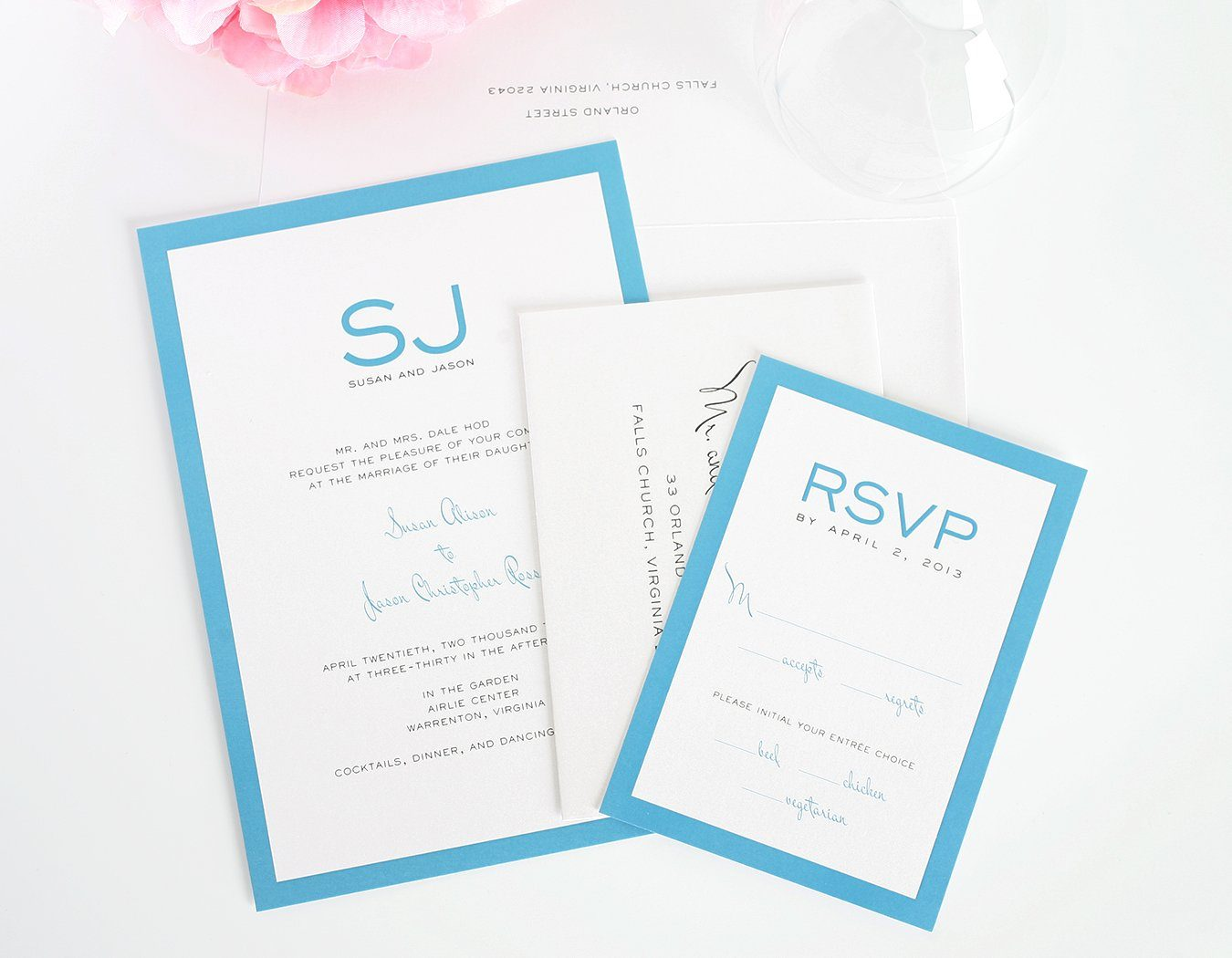 Modern Blue Wedding Invitations with Monogram
